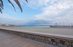 Empty sandy Playa de Palma. Beach and marina in Mallorca, Balearic islands, Spain Stock Photography