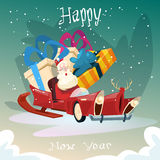 Empty Santa Claus Sleigh With Present Box Christmas Celebration New Year Greeting Card Stock Image