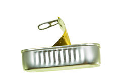 Empty Sardine Can Isolated Stock Photo