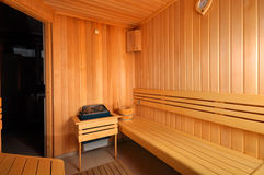 Empty Sauna. With pure wooden walls Stock Photo