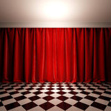 Empty scene with red velvet curtain. A 3d illustration of stage in victorian style Stock Images