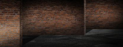 Background of an empty corridor with brick walls and neon light. Brick walls, neon rays and glow. Empty scene of a show with lanterns and concrete floor, blue royalty free illustration
