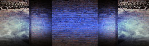 Background of an empty corridor with brick walls and neon light. Brick walls, neon rays and glow. Empty scene of a show with lanterns and concrete floor, blue stock illustration