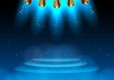 Empty scene with spot lights. Spotlight illuminates scene inside theatre or disco spot lights shining magic background. Vector illustration Stock Images