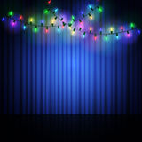 Empty scene with stage curtain and light garland Stock Image