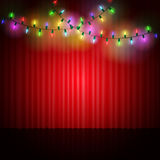 Empty scene with stage curtain and light garland Royalty Free Stock Images