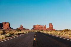 Empty scenic highway in Monument Valley. Arizona, USA Stock Image