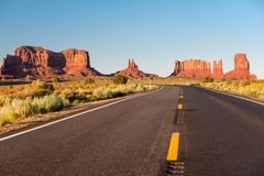 Empty scenic highway in Monument Valley. Arizona, USA Royalty Free Stock Image