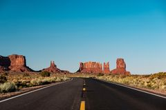 Empty scenic highway in Monument Valley. Arizona, USA Royalty Free Stock Images