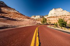 Empty scenic highway in Utah. Empty scenic highway in Zion National Park, Utah, USA Stock Photos