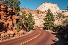 Empty scenic highway in Utah. Empty scenic highway in Zion National Park, Utah, USA royalty free stock image