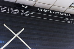 Empty schedule board at railway station in Athens Stock Photo