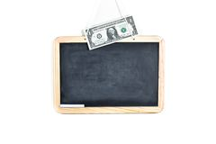 Empty school blackboard with dollar on top Stock Image