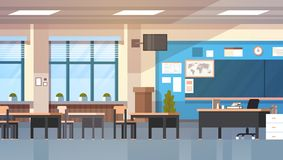 Empty School Class Room Interior Modern Classroom Board Desk. Flat Vector Illustration Royalty Free Stock Photography