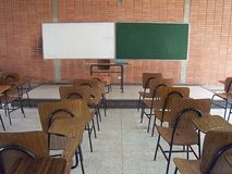 Empty school classroom. Adult education. Empty Classroom. University Education. College Education. No students. Back to class. Back to School. Empty Chairs Royalty Free Stock Photography