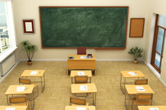 Empty school classroom with blackboard for training. Royalty Free Stock Photography