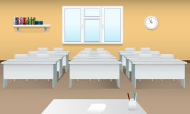 Empty school classroom. Realistic Classroom interior with large window and front view. Meeting room. stock illustration