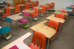 Empty School Desks stock image