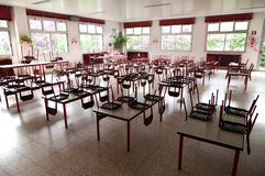 Empty school dining hall. Pre-school refectory with tables and chairs Royalty Free Stock Photo