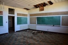 Empty School that is closed and abandoned stock photos