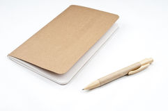 Empty scrapbook and pen. On the  white backgroud Stock Photography