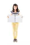 Empty scrapbook. Standing woman holding an empty scrapbook in her hands - isolated on white Royalty Free Stock Images