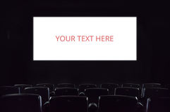 Empty screen. Empty cinema screen at the movie theatre. Copyspace entertainment movies films audience leisure activity presentation hall auditorium advertising Stock Photography