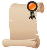 An empty scrolled paper with a ribbon Stock Photo