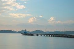 Empty sea pier at Rayong military beach Stock Photos