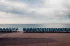 Empty sea promenade. An empty morning sea promenade at Nice, Cote d'Azur, France Royalty Free Stock Photo