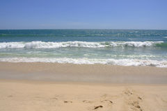 Empty sea and sandy beach background with copy space. Vietnam Royalty Free Stock Image