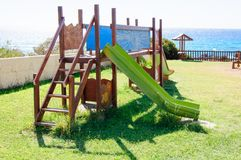 Empty seaside playground, Crete island, Greece Royalty Free Stock Image