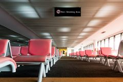 Empty seat in the airport departure lounge Royalty Free Stock Images