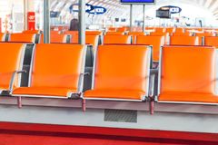Empty seat in departure area of airport Royalty Free Stock Photo