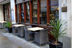Empty Seating outside Restaurant stock images
