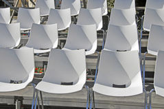 Empty seats. Some empty seats in white after the spectacle royalty free stock photos