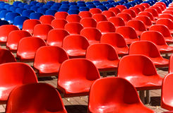 Empty seats. Empty red and blue seats Stock Images