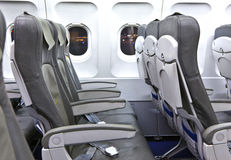 Empty seats in the aircraft Stock Photo