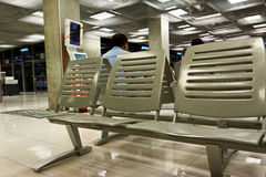 Empty seats in airport waiting room Royalty Free Stock Photos