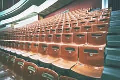 Empty seats in the auditorium. toning. Concept: lack of interest, failure, boycott. Empty seats in the auditorium. toning. Concept: lack of interest, failure royalty free stock photos