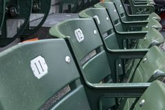 Empty seats in baseball stadium stands Royalty Free Stock Images