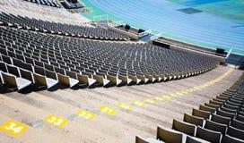 Empty seats of big sport stadium. Empty tribune of big sport stadium Stock Photo