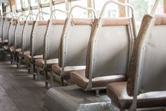 Empty seats on the bus royalty free stock photography