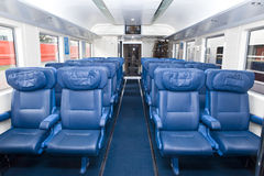 Empty seats in car of train Royalty Free Stock Photo