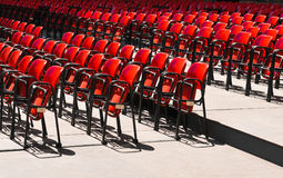 Empty seats. Detail of red empty seats before the show stock photos