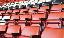 Empty seats at a football stadium. Empty seats at a football/soccer stadium in England Royalty Free Stock Photos