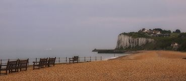 The white cliffs at Kingsdown Beach near Dover in Kent England royalty free stock images