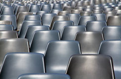 Empty seats pattern at outdoor cinema show: Bologna, Piazza Maggiore. Royalty Free Stock Photo