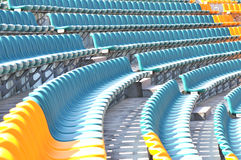 Empty seats at sports stadium Stock Photos
