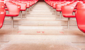 Empty seats and stair. Stair and row of empty seats in stadium Stock Photos
